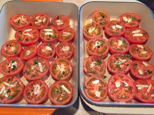 Tomatoes prepped